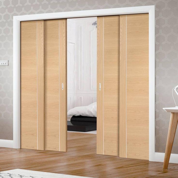 Quad Telescopic Pocket Forli Oak Veneer Door - Aluminium Inlay - Prefinished.    #flushdoors #oakdoors #interiordoors #directdoors #hiddendoors #telescopicdoors
