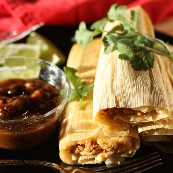 Homemade Pork tamales using Coconut Oil instead of the traditional lard
