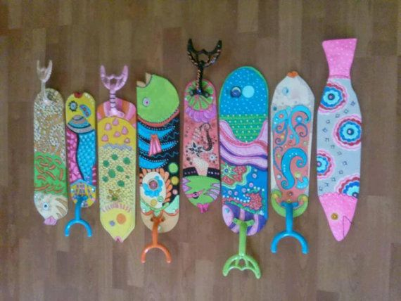 Items similar to Hand painted fish decorative Fan blades on Etsy