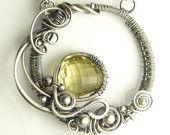 Pierre de Quartz jaune citron et argent Sterling Swarovski sculpté collier - cercle de pierres précieuses