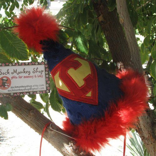 Superman Initial Applique Party Hat | sockmonkeyshop - Children's on ArtFire