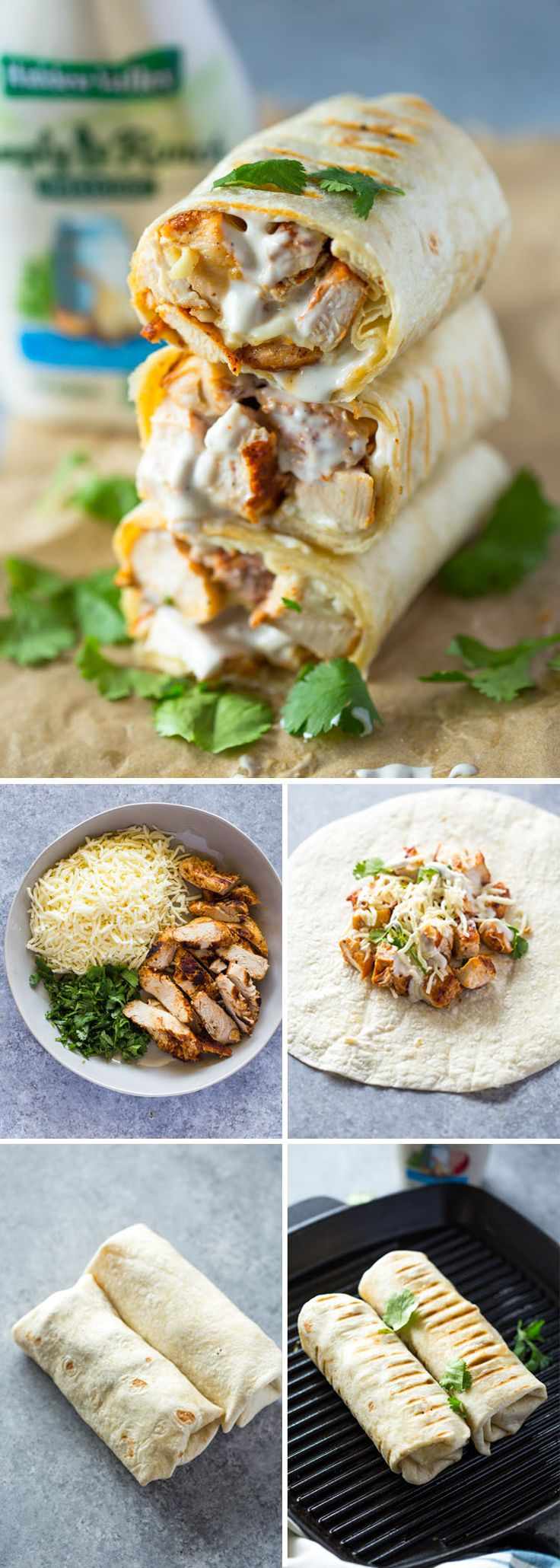 Chicken Ranch Wraps ~      Lay tortillas on clean flat surface. Place about ½ cup chicken, 1 Tbsp ranch, 2 Tbsp of mozzarella, & 1 Tbsp minced cilantro (spinach) on each tortilla. Fold tightly to form a burrito shape. Heat a heavy-duty pan or grill to medium heat. Coat with a light layer or oil or cooking spray & cook wraps for 1-2 minutes on each side or until the tortilla is crispy & golden. Remove from heat, slice in half & serve immediately.
