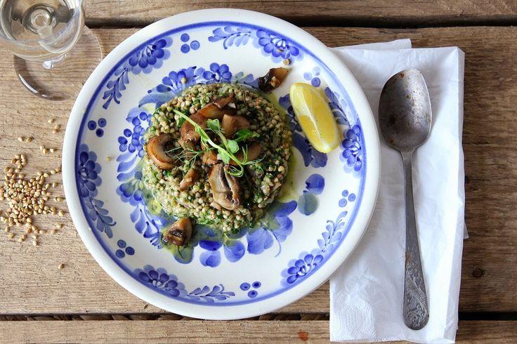 Mikyna v kuchyni: Pohankové rizoto se špenátem a pečenými žampióny