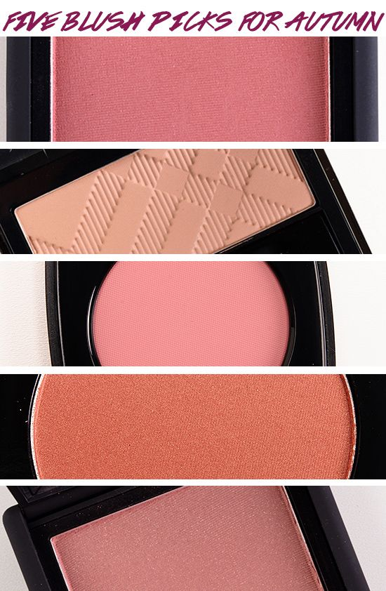 Top 5 Blushes for Autumn (2013 Edition) - By Temptalia Beauty Blog:  1) NARS Dolce Vita — rosy plum with a satin finish 2) Burberry Earthy — satin-finished medium brown-beige 3) Chanel Inspiration — light-medium pink 4) MAC Ambering Rose — warm, rusty plum 5) NARS Oasis — shimmering plum
