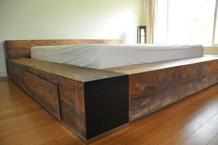 Bedroom. Rustic Wooden Bed Frame With Storage Drawers And White Bed Linen Also Laminated Wooden Floor As Well As Queen Bed Frame Size And Custom Bed Frame. Beautiful Diy Bed Frame With Storage For Bedroom Furniture Design