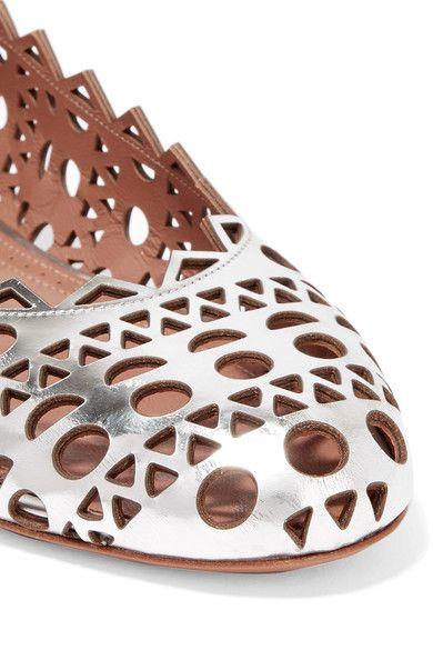 Alaïa - Laser-cut Metallic Leather Ballet Flats - Silver - IT39.5