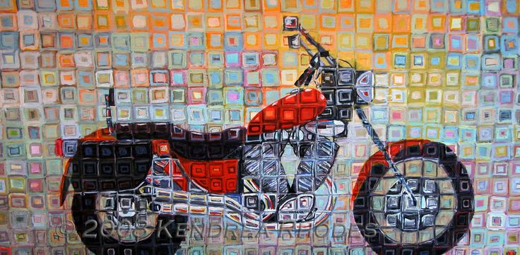 Orange Cruiser - yamaha virago - original acrylic on canvas painting by Kendrea Rhodes © 2008 Kendrea Rhodes #kendreart
