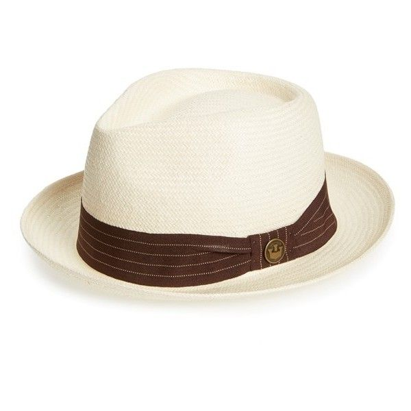 Goorin Brothers 'Snare' Straw Fedora (€44) ❤ liked on Polyvore featuring men's fashion, men's accessories, men's hats, white, mens wide brim fedora hats, mens white fedora, mens wide brim hats, mens straw hats and mens straw fedora