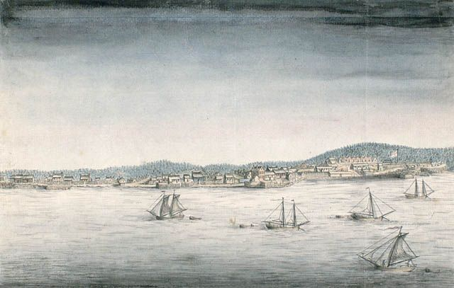 Vue de la ville et du fort d'Annapolis Royal, vers 1753-1755.  CA ANC C-2706CA ANC C-002706.