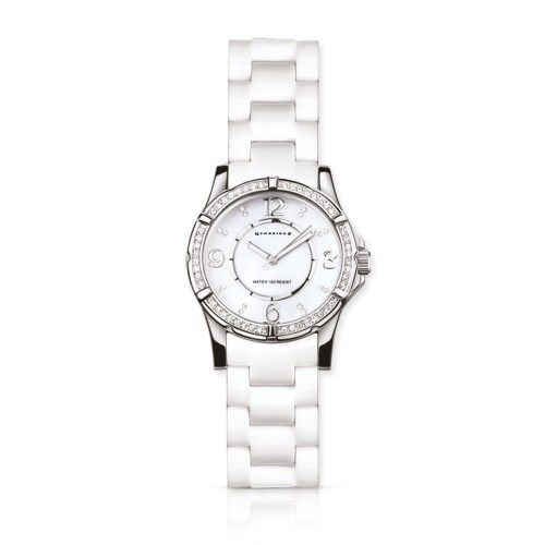 Newbridge silverware Chunky Ladies Watch White Premium ladies IPS plated ladies round face watch with stainless steel backing clear stone settings