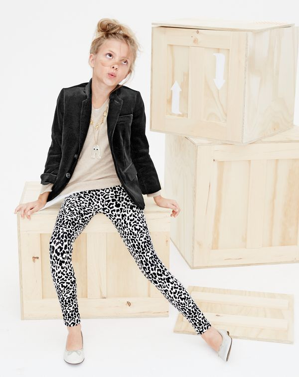 J.Crew kids' Ludlow sportcoat in velvet, Italian cashmere V-neck sweater, girls' charm necklace, Max the Monster glitter necklace, cozy everyday leggings in snow leopard and classic patent leather ballet flats.