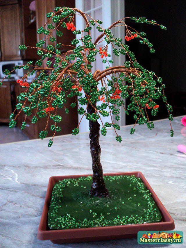 Деревья из бисера Рябина