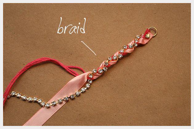 Rhinestone Braided Bracelet DIY Braiding