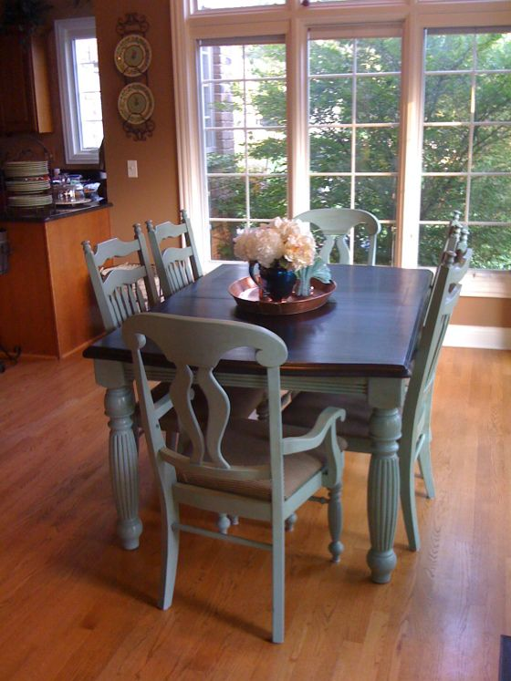 Kitchen chair/table makeover! (stained top with matching color on legs and chairs.)