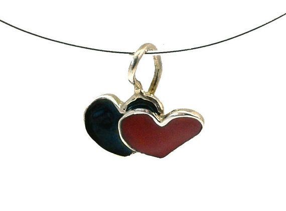 Double Heart Pendant, Heart Necklace, Enamel Heart Pendant, Red Heart Pendant, Heart Charm, Heart Valentine, Gift for her, Giampouras