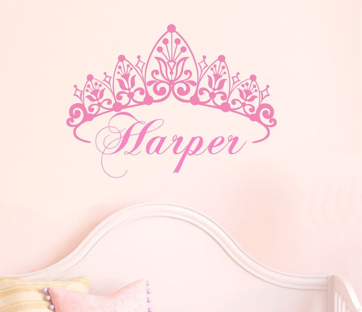 Baby Crown Wall Decor : Nursery girl crown wall decal name custom baby toddler