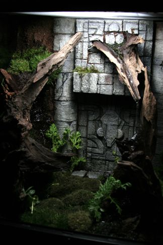 Vivarium for Crested Geckos 2 - Construction Journal can be found here:  http://blairstuff.com/about/crested-gecko-tank/ Love that water stream coming down from the bark!