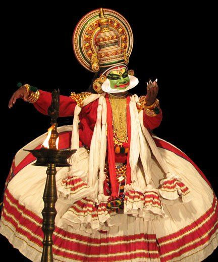 A highly stylized classical Indian dance-drama noted for the attractive make-up of characters, known as Kathakali