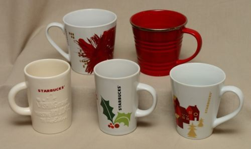 5-Starbucks-Christmas-Mugs-Holiday-Coffee-Cups-2007-2014-Red-Embossed-Holly-Lot