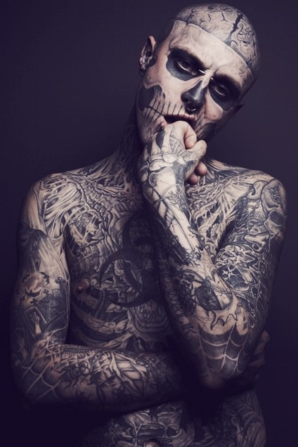 Rick Genest is the coolest looking man in the world! Kinda sketch though.