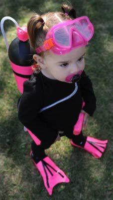 Future Scuba Diver - Scuba Baby Sporting the new Pink Starter Scuba Set complete with pacifier-regulator