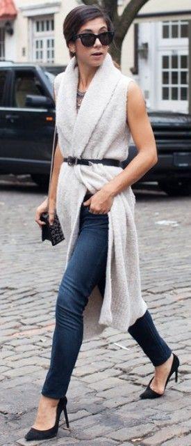 #fall #thistimetomorrow #outfits   Sleeveless White Coat + Denim