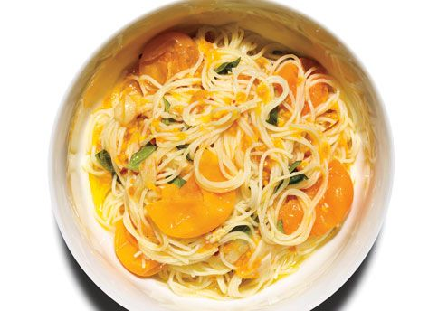 Pasta with sungold tomatoes - I added fresh toasted breadcrumbs and subbed parsley for basil and it was delicious!