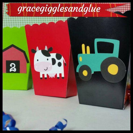 10 cajas de merienda temática/a Favor de granero granja