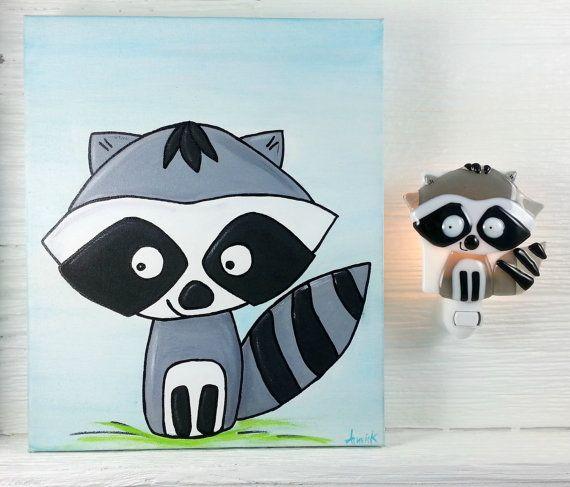 Duo veilleuse et toile raton laveur peinture verre par VeilleSurToi, $90.00