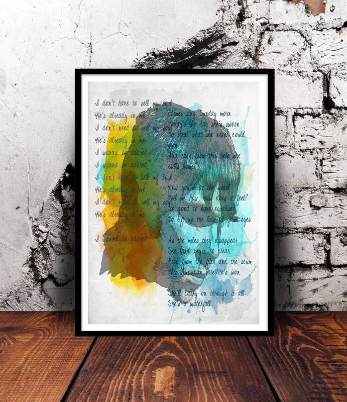 Ian Brown The Stone Roses I wanna be adored waterfall Manchester indie britpop A4 watercolour print watercolor wall art music lyrics