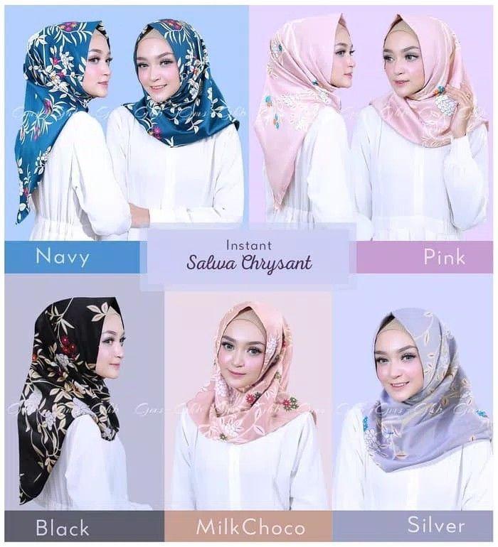 Hijab Instant Salwa Chrysant Hijab Instan Model Salwa Bermotif Bunga Cantik Praktis 1x Slup Tanpa Peniti Atau Jarum Material Velvet Twis Hijab Kerudung Model