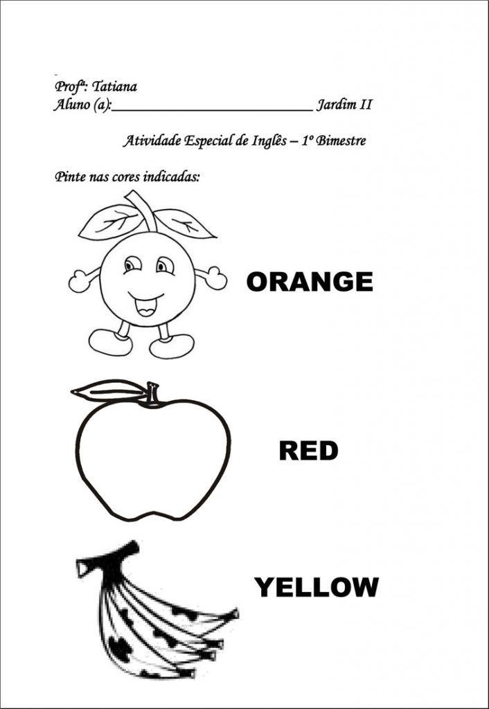 Atividades De Ingles Para Educacao Infantil Imprimir Em 2020