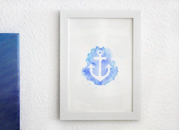 Anker Bild, Aquarell, handgemaltes original, blau-türkisen Hintergrund, DIN A4, Seefahrt Wanddeko, Geschenkidee, Maritim, nautische Gemälde