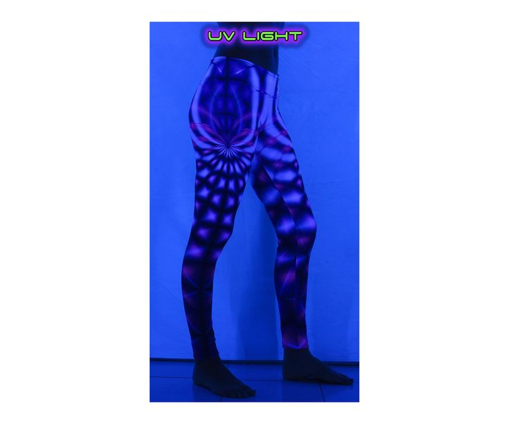 """Sublime Leggings : Violet Web Sublimation print lycra leggings with wide waistband & all over print  The design is printed using dye sublimation technology on a high quality, 4-way stretch, polyester lycra.  This gives extremely juicy, vibrant colors that will never fade away, no matter how many times they get washed, & results in an extremely soft """"feel"""" to the leggings for ultimate comfort.  Polyester lycra (82% polyester, 18% spandex)  Artwork by Space Tribe"""