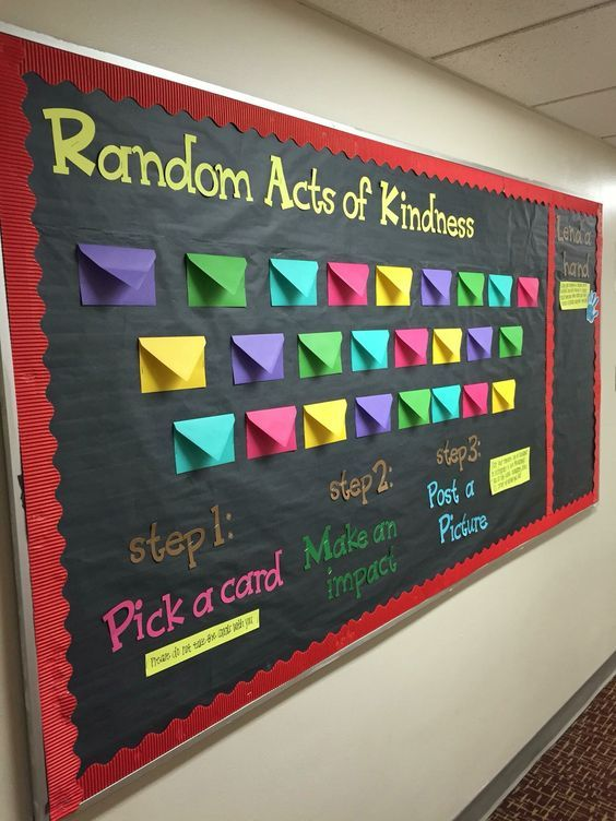Black and Neon ... Random acts of kindness bulletin board idea. Classroom decor. School decorations.
