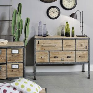 buffet d 39 atelier en bois et m tal 6 tiroirs jardin d. Black Bedroom Furniture Sets. Home Design Ideas