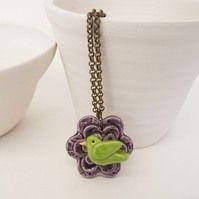 Ceramic flower and bird pendant