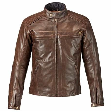 Restore Brown Leather Jacket | Triumph Motorcycles | Matte finish brown-black leather, removable jacket D-liner, long and short connection zippers, and tan leather stripes on sleeves give the Triumph Restore Brown Jacket a sleek style that revitalizes the riding experience.
