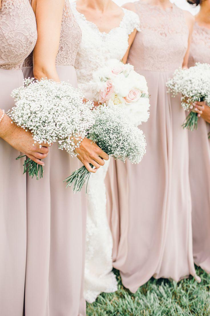 Bridesmaids With Gypsophila Bouquets Rustic Farm Wedding Bride In Ronald Joyce English Country Garden