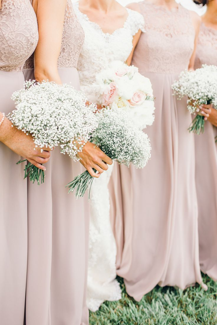 Bridesmaids with Gypsophila Bouquets - Rustic Farm Wedding With Bride in Ronald Joyce English Country Garden Flowers In Milk Urns And DIY Wooden Palette Details Images Jessica Reeve