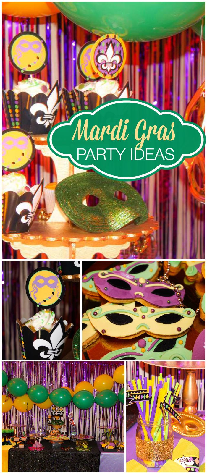 Such a fabulous Mardi Gras celebration! Lots of green, purple and gold! See more party planning ideas at CatchMyParty.com!