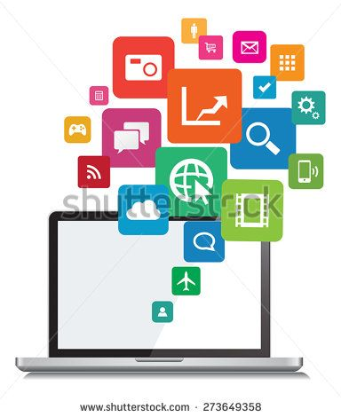 This image is a vector file representing a Laptop App cloud Network Vector Design Illustration./Laptop App Cloud Network Vector Design/Laptop App Cloud Network Vector Design