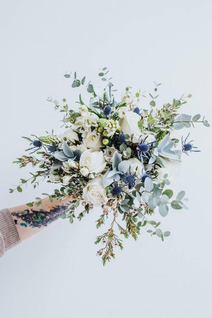 Blue Wedding Bouquet // winter wedding, spring wedding, rustic, blue thistle, greenery, peony