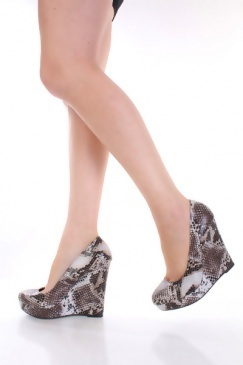 Beige Faux Leather Snake Print Almond Closed Toe Platform Wedges