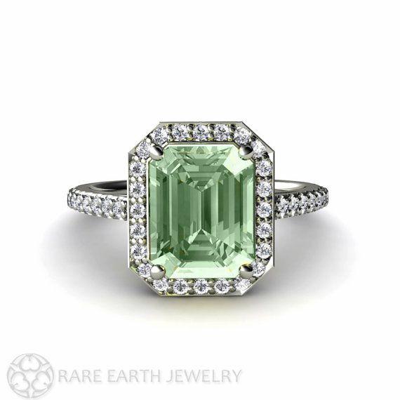Green Amethyst Engagement Ring Diamond Halo Amethyst Ring Emerald Cut Halo by RareEarth, $889.00