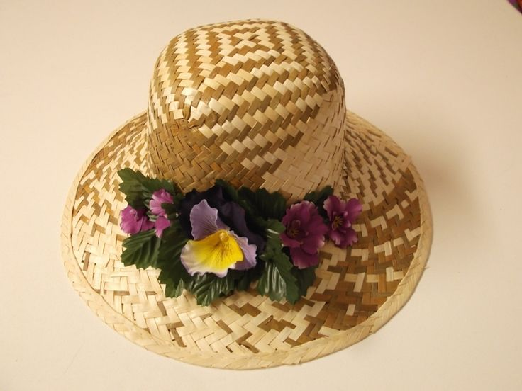 cappello paglia#con fiori di sogni d'arte by adalgisa su DaWanda.com