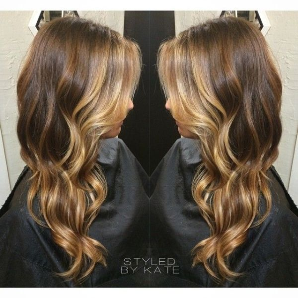 Balayage hairstyle on long hair, medium brown with blonde balayage ...