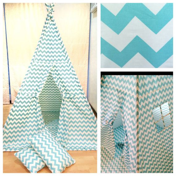 Children's Play Tent Teepee Wigwam Tipi Play Fort. Handmade for kids in Aqua and White Chevron Fabric. Comes with Mat Base AND Two Pillows!