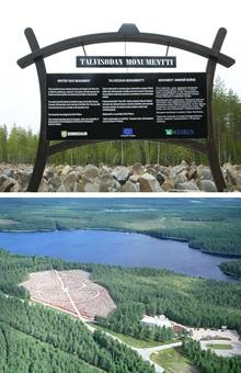 5. Talvisodan monumentti Talvisodan Monumentti on kenttä, johon asetellaan kivi Suomussalmen taisteluissa 1939-40 kaatuneille sotilaille (n. 20 000 kpl). Kenttää kiertää tykistön runtelema metsä ja keskellä kenttää on pieni muistomerkki. Tavoitteena on visuaalisin keinoin saada ihmiset ymmärtämään sodan ympärilleen kylvämästä tuhosta ja hädästä. Muistomerkki on kunnianosoitus kaikille talvisodan veteraaneille.