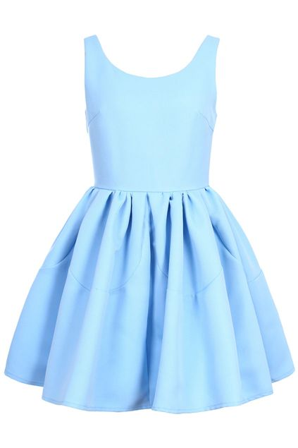 Pleated Sleeveless Puff Sky-blue skater Dress at victoriaswing! Registered us to get 10% off coupon code for your first order!